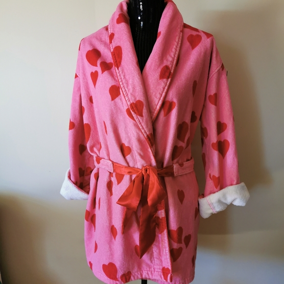 La Senza Pink Red Heart Terri Cloth Robe  L/XL